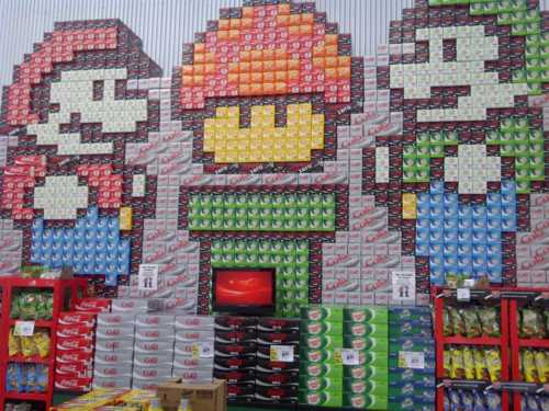 Mario Bros. Made Entirely Out Of Soda Boxes