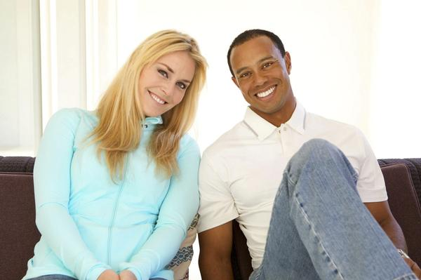 Handout photo of Lindsey Vonn and Tiger Woods